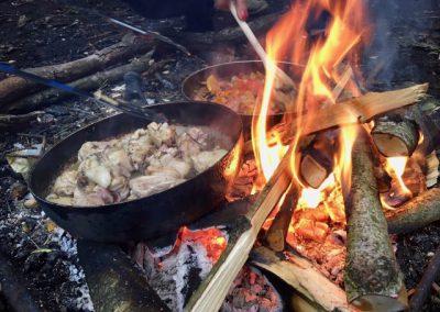 koken open vuur